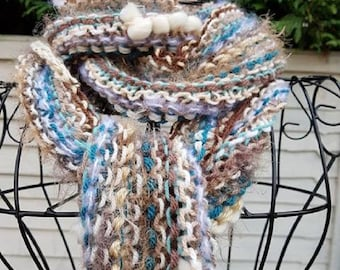 Long Skinny Scarf, Soft Knit, Women's Gift, Textured Teal & Beige, Brown Women's Knitted Scarf, Bohemian Style Fashion, Ladies Long Scarf