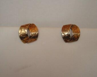 Unusual vintage crown trifari clip on earrings