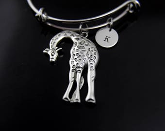 Large Giraffe Charm Bracelet Silver Giraffe Charm Bangle Giraffe Jewelry Expandable Bangle Personalized Bangle Initial Charm Initial Bangle