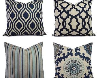 Decorative Pillow Blue and Beige - Decorative Pillow - Blue Taupe Pillow - Accent Pillow -  Pillow Covers - Navy Pillows - Blue Pillows