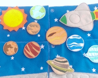 Felt planets - space activity busy book quiet book 4 pages with 9 planets and a space ship #ACT65