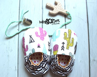 Baby Moccasins + Leather pacifier clip + wooden toy cactus  |  Baby Booties | Prewalker shoes |  baby slippers |  baby booty | Cacti |