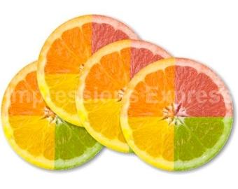 Funky Grapefruit Fruit Coasters - Set of 4