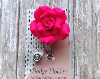 Nurse Badge Reel Hot Pink Rose Badge Reel, Retractable Id Badge Reel, Gift for Teachers Floral Name Badge Holder, Badge Pull ID Tag Clip