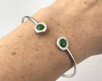 Canadian Nephrite Jade Bracelet - Sterling Silver and CZ's- Natural Jade - Green Jade