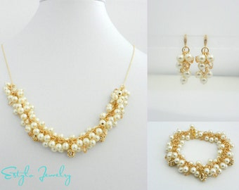 Cluster Pearl Bridal Jewelry Set, Gold Filled Wedding Jewelry, Bridal Jewelry Pearl Set, Gold Pearl Earrings, Pearl Necklace Bracelet Set