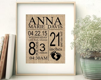 Personalized birth announcement, Baby name sign, Birth Announcement, Baby Announcement, Unique Baby Shower Gift, New baby gift, Burlap Print