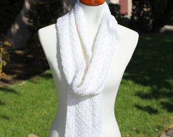 White Knitted Long Scarf