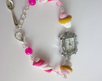 Watch fimo delicious pastel pink and Pearl Marshmallow, cupcake