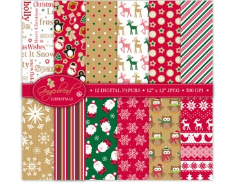 Christmas Digital Paper,Christmas Scrapbook Papers,Santa Papers,Reindeer Papers,Holiday Papers,Christmas Backgrounds,Commercial Use (P3)