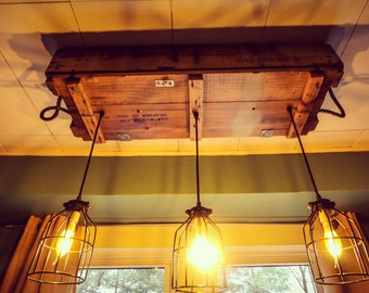 Reclaimed Wood Industrial Light Fixture (Rustic Lighting, Edison Bulbs, Dining  Room Lighting,