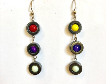 Metal Circles with Colored Beads Earrings
