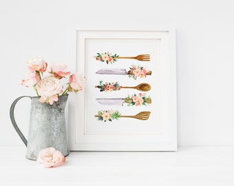 Printable Art Kitchen Utensils Print, Floral Kitchen Utensils, Kitchen signs, Rustic Kitchen Art Spoon Print Kitchen Decor Kitchen Wall Art