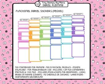 Digital planner stickers - blank pastel - for tablet planning