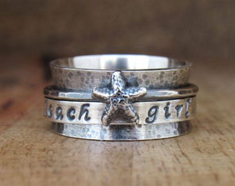 Starfish Ring, Mermaid Ring, Rustic Spinner Ring, Sterling Silver