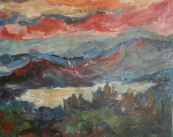 1971 European art oil painting expressionism landscape mountain signed