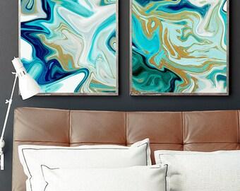 two prints, set of two, beach art, abstract art, modern art, contemporary art, blue wall art, set of 2, art set, set of 2 prints, wall art