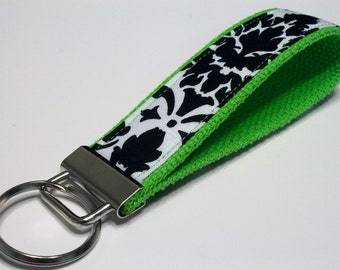 Fabric Key Fob, Key Chain, Key Ring, Key Holder, Wristlet Key Fob, Wristlet Keychain, Fabric Key fobs-Splash of green