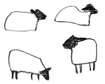 Four sheep - A6 greeting card of original line drawing