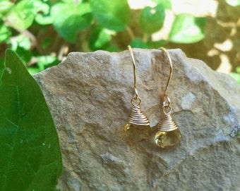 Tiny citrin earrings - November Birthstone