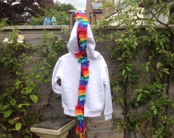 OOAK rainbow pony hoodie 18 mths- 2 years