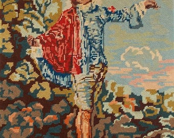 Completed Vintage French Needlepoint Tapestry  \\ L'Indifferent  //  Watteau      (6562s)