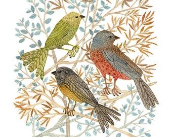 LARGE Songbirds Print, giclee print, nature bird art, woodland watercolor print, birds, 13 x 19