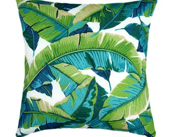 Tropical Outdoor Pillow Cover, 21x21 Green outdoor cushion, Banana Leaf Pillow, Green Turquoise Pillow with Hidden Zipper, Palm Tree Decor