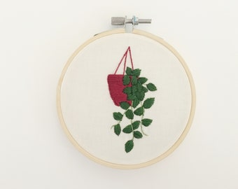 Hanging Plant Embroidery Hoop Art