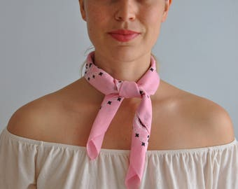 Vintage Bandana // Pink // Made in USA // Scarf // Vintage Handkerchief // 100% Cotton // 21 x 21 inches // Stocking Stuffer Gift Idea (11)