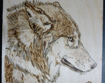 Wolf Pyrographic Wood Burn Original Made to Order 5.75 x 5.75 inch Art Panel by Pigatopia