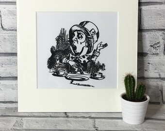 Mad Hatter Alice in Wonderland wall art, handmade gift, artwork, cut out, gift for her, nursery decor, decoration, lewis carroll, storybook