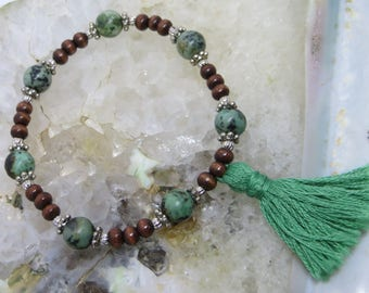 Crystal Gemstone Prayer Bead Bracelet, African Turquoise: creation, confidence