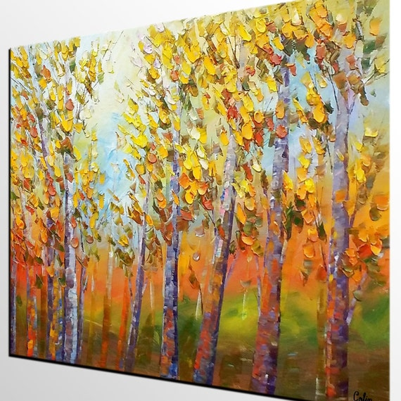 Autumn Forest Tree Painting Abstract Canvas Art Large Wall