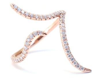 Diamond Knuckle Ring, Midi Ring, Diamond Midi Ring, Cuff Ring, Gold Ring, Organic Ring, Gold Diamond Knuckle Ring, Delicate Ring, Nixin