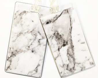 Luggage Tag Pair -- White Marble