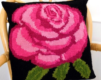 Rose Cushion Knitting Pattern, Pillow Knitting Pattern with Rose, Rose Pillow Knitting Pattern, pdf download for Rose Pattern