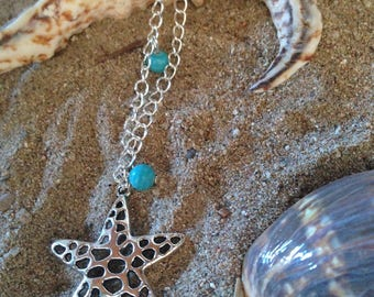 porcelain beads and silver Starfish necklace