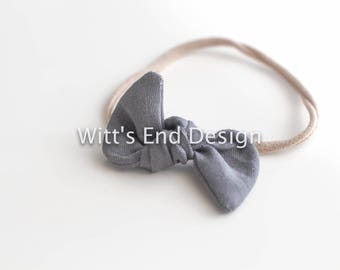 One Size Fits All- Top Knot Elastic Headband/Bow Collection- Charcoal on nylon or metal clip