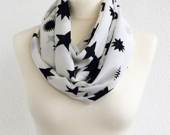 Stars Printed Scarf, Black White Foulard, Infinity Scarf, Cotton Circle Scarf, Boho Sky Scarf, Women Scarf, Gift For Her, Christmas Gift