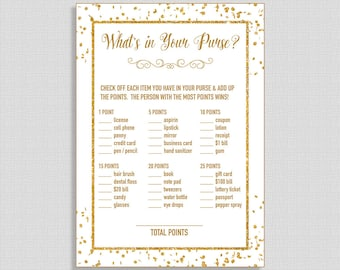 What's In Your Purse Shower Game, White & Gold Confetti Glitter Shower Game, Gender Neutral, DIY Printable, INSTANT DOWNLOAD