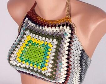 Crochet Top, Hippie Top, Hot bikini top by LoveKnittings