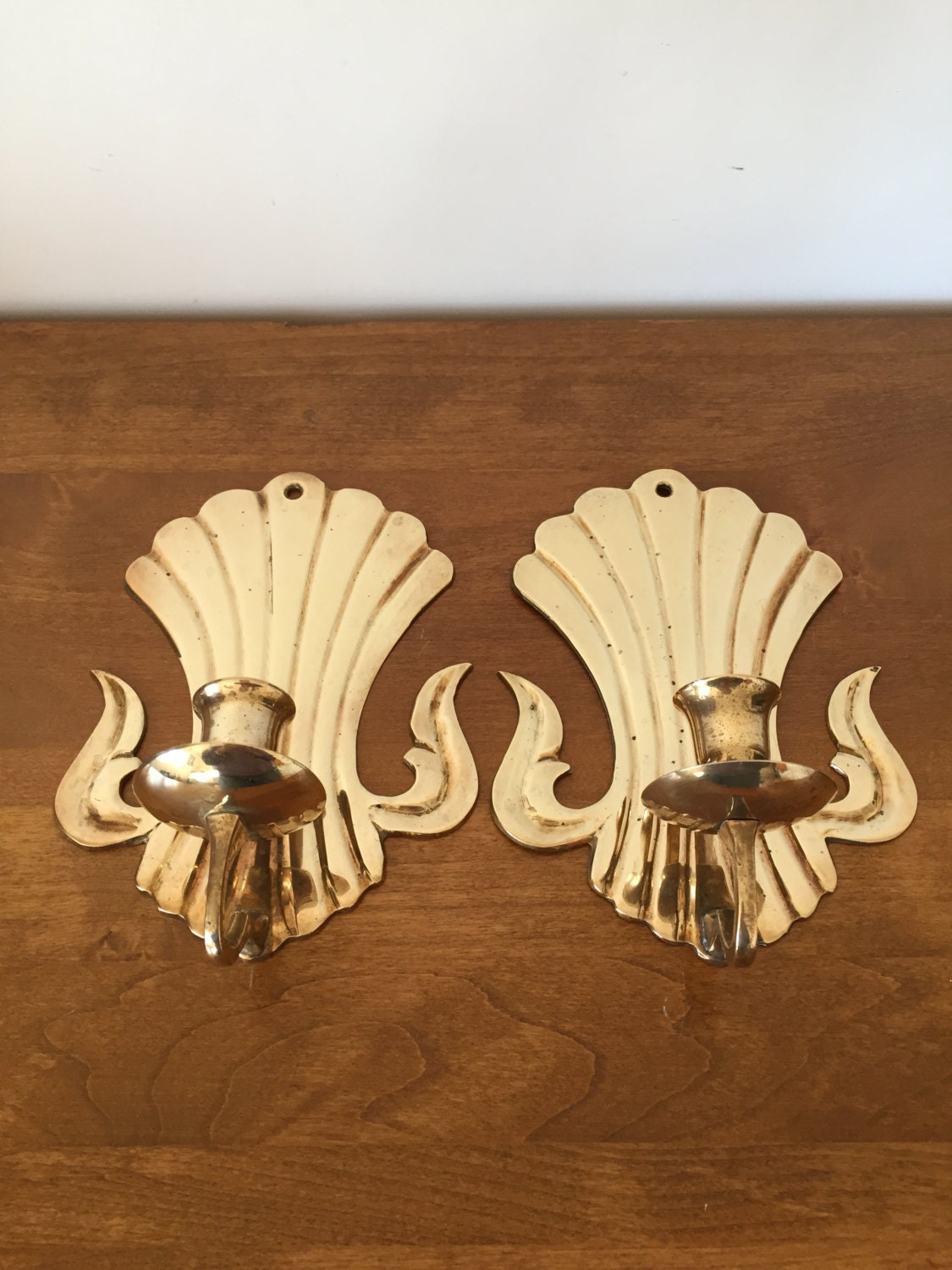 Pair of Solid Brass Wall Sconces Art Deco Brass Candle