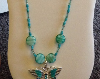"Butterfly Freedom 28"" Necklace featuring Aqua swirl glass beads and Beautiful Butterfly Pendant - handmade in the U.S."