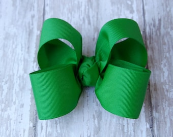 "Emerald Green Large Hair Bow 4"" Alligator Clip Girls Hairbow"