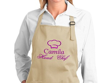 Embroidered Personalised Aprons chef - add a name