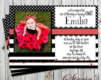 Little Lady Bug Photo Birthday Invitation - Girl Party Invitation - Digital File or Printed