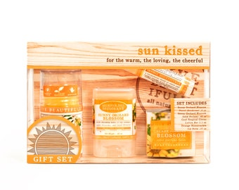 Sun Kissed Gift Set - All Natural Body Product Gift Set - Lotion, Perfume, Lip Balm, Deodorant