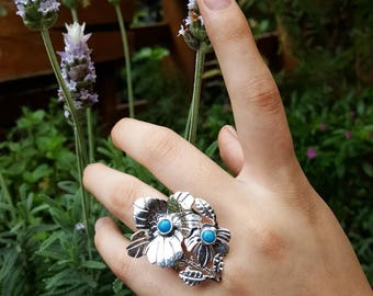 Turquoise Azalea Flower Sterling Silver Ring / Gift Idea for her/ Plant lovers / Flower lovers/ Mothers Day Gift