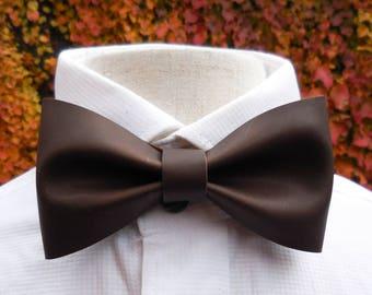 Dark Brown Leather Bowtie, Wedding Bowtie, Groomsmen Gifts, Brown Leather, Bow Tie for Men, Leather Bow Tie, Mens Bowtie, Boys Bowtie